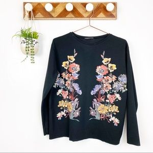 Zara | Black Floral Embroidered Long Sleeve Shirt